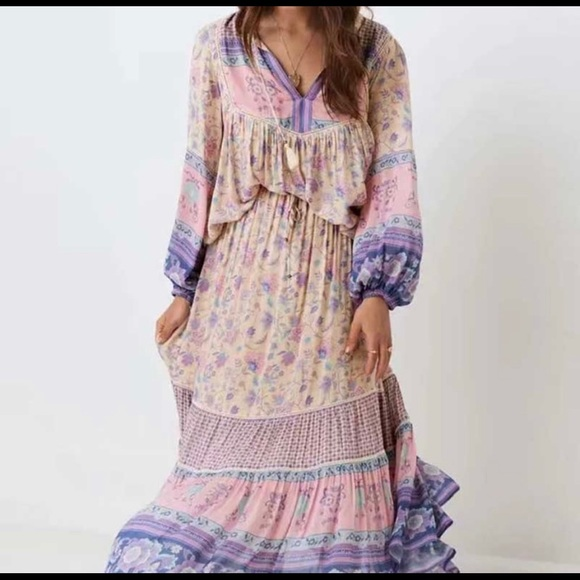 Dresses & Skirts - New! boho tiered floral purples maxi skirt